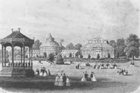Historical Bandstand and Glasshouses at Birmingham Botanical Gardens