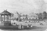 Historical Bandstand and Glasshouses at Birmingham Botanical Gardens